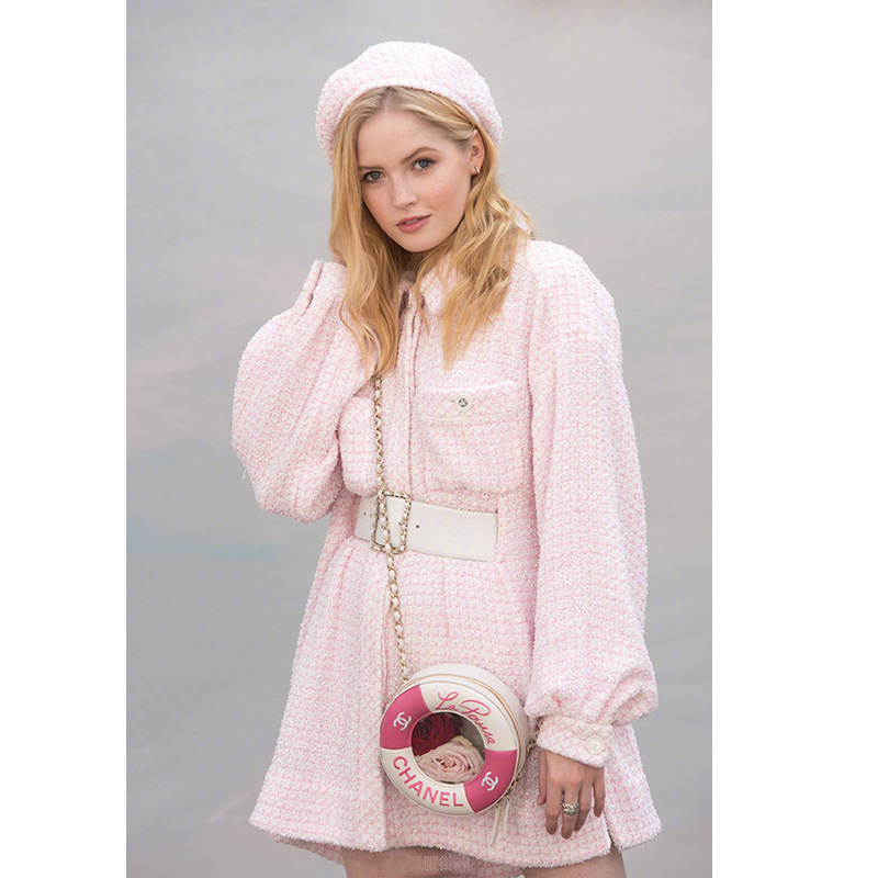 2018 Autunno Inverno Nuovo Colore Rosa Petite Profumo di Tweed Delle Donne Loose-fitting Vestito Temperamento Pendolarismo Rosa Single-petto Reticolo