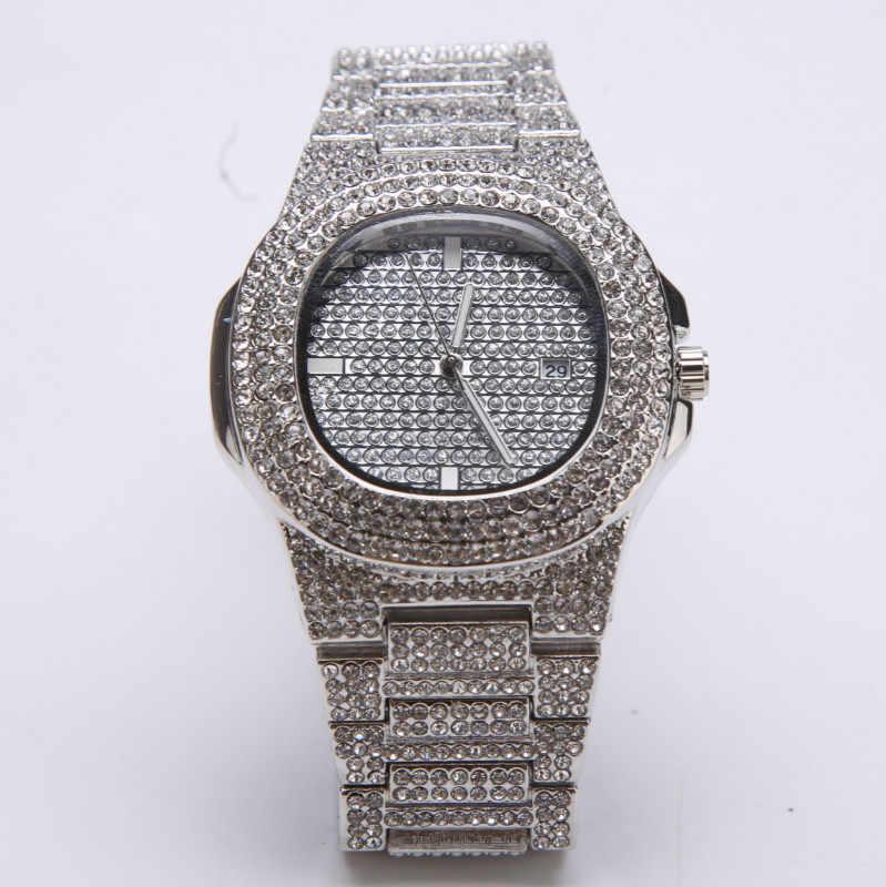יוקרה זהב היפ הופ גברים שעון שרשרת קומבו סט אייס מתוך שעון יהלומי גברים תכשיטי 18K קפוא לב תליון & חבל שרשרת סט