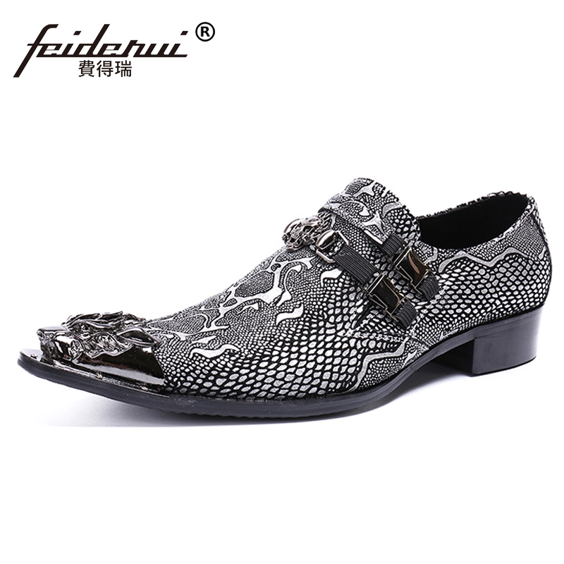 Plus Size Luxury Pointed Toe Slip on Man Metal Tipped Loafers Genuine Leather Python-patterned Handmade Men's Casual Shoes SL480 недорго, оригинальная цена