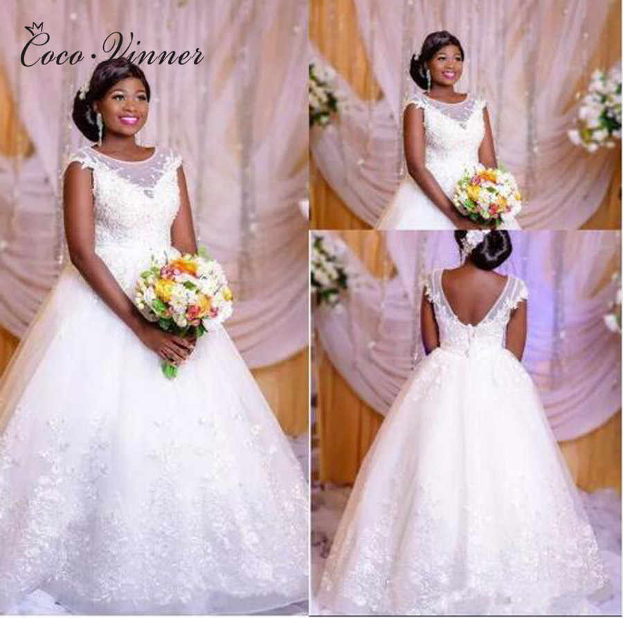 sheer neck embroidery african wedding dress 2019 ball gown style plus size  pearls beading princess wedding dresses w0394