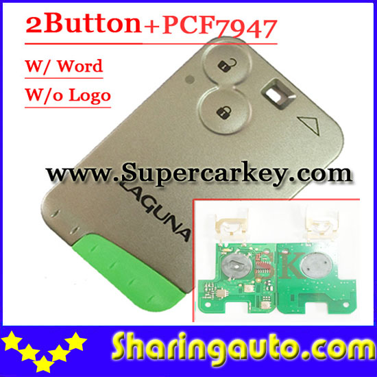 ФОТО Free shipping 2 Button 433MHZ  pcf7947 chip remote card  for Renault Laguna With Green blade ( With Laugna words)  (1piece)