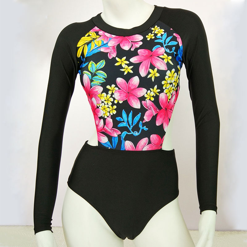 Dlouhý rukáv Jeden kus Plavky Plavky Ženy Vytisknout Obleky - Sportovní oblečení a doplňky