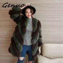 Genuo Faux Fur Coat Autumn Winter Women 2019 Fashion Casual Warm Slim Spliced Long Fox pocket winter coat Jacket
