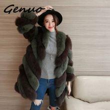 Genuo Faux Fur Coat Autumn Winter Women 2019 Fashion Casual Warm Slim Spliced Long Faux Fox Fur pocket winter coat Fur Jacket цена 2017
