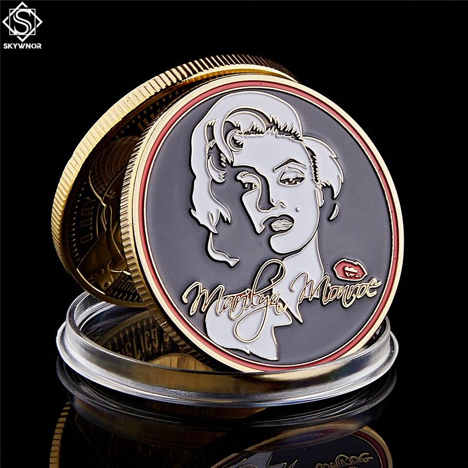 Coleção de moedas comemorativas marilyn, moedas sensuais banhadas a ouro, super star, 1962