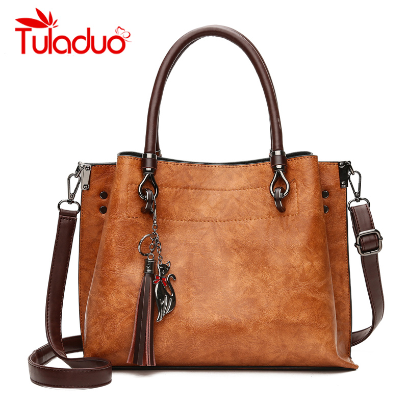 Women Vintage PU Leather Handbag Tassel Large Bag Brand Designer Ladies High Quality Handbag Casual Tote Bags Crossbody Bags