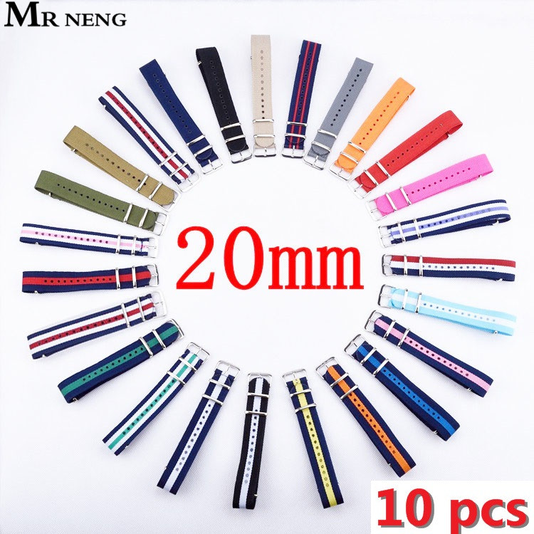 MR NENG 10 pieces / lot 20mm Watchband Nato Strong NATO Military Wrist Army Nylon Canvas Watch Strap Band 20 mm Belt Wholesale