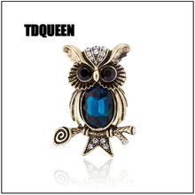 TDQUEEN Crystal Owl Brooches for Women Antique Beautiful Badge Fashion Pins Jewelry Coat Garment Accessories Birthday Party Gift