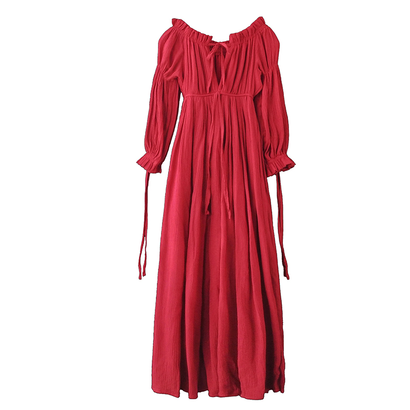 PERHAPS U red strapless long puff sleeve maxi long dress solid off shoulder loose D0526 1