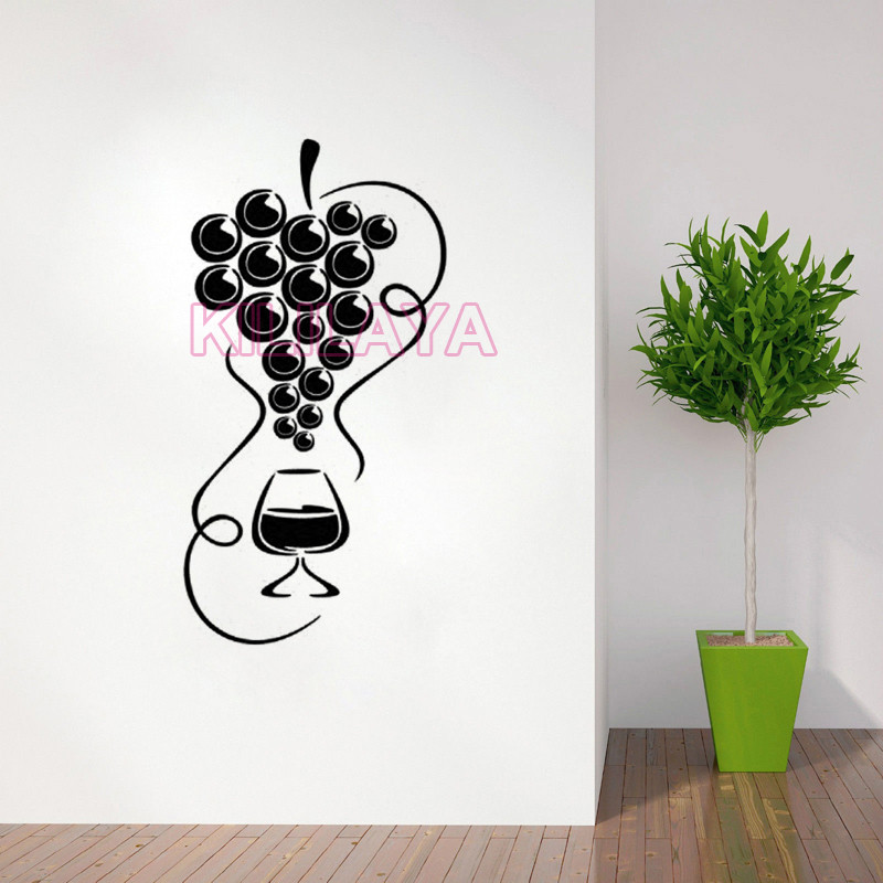 Stickers Cuisine Grapes And Glass Of Wine Vinyl Wall