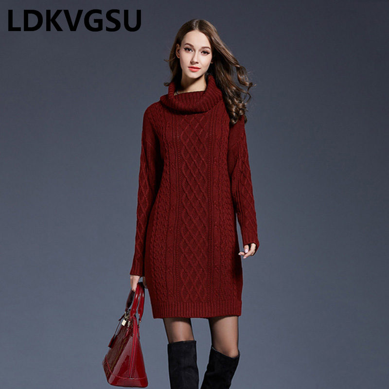 2018 Winter Sweater Dress Plus Size Women Long Sleeve Turtleneck White Mini Knitted Dress Lady Sweater Dresses Winter 4XL Is1526