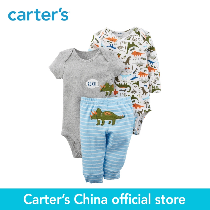 Carter's 3-Piece baby children kids clothing Boy Spring & Summer Cotton Little Character Dinosaur Set 126H218 комбинезоны little boy комбинезон трансформер