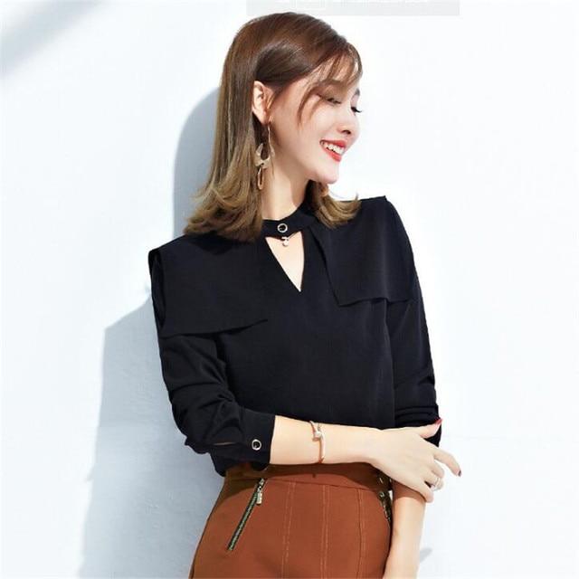 9d1f5f6808ea Women Stylish Long Sleeve Halter V-Neck Chiffon Blouse Summer Fashion  Casual Shirts Black Loose Tops Ma259