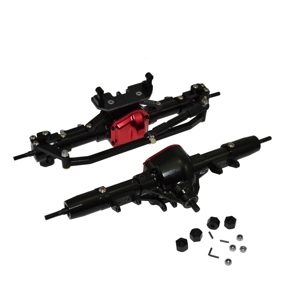 RCAidong 1/10 Rc Car Complete Alloy Front And Rear Axle CNC Machined for 1:10 Rc Crawler AXIAL SCX10 RC4WD D90 Truck mxfans rc 1 10 2 2 crawler car inflatable tires black alloy beadlock pack of 4
