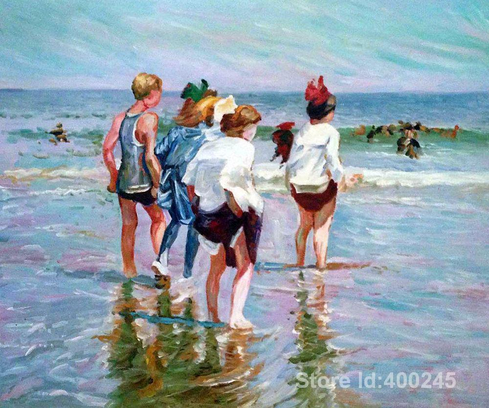 paintings of beach Summer Day Brighton Beach art Edward Henry Potthast canvas art hand painted High quality
