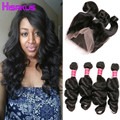 Raw Indian Hair Loose Wave Virgin Hair with 360 Lace Frontal 4 Bundles with Frontal Closure 360 Lace Frontal Closure with Bundle