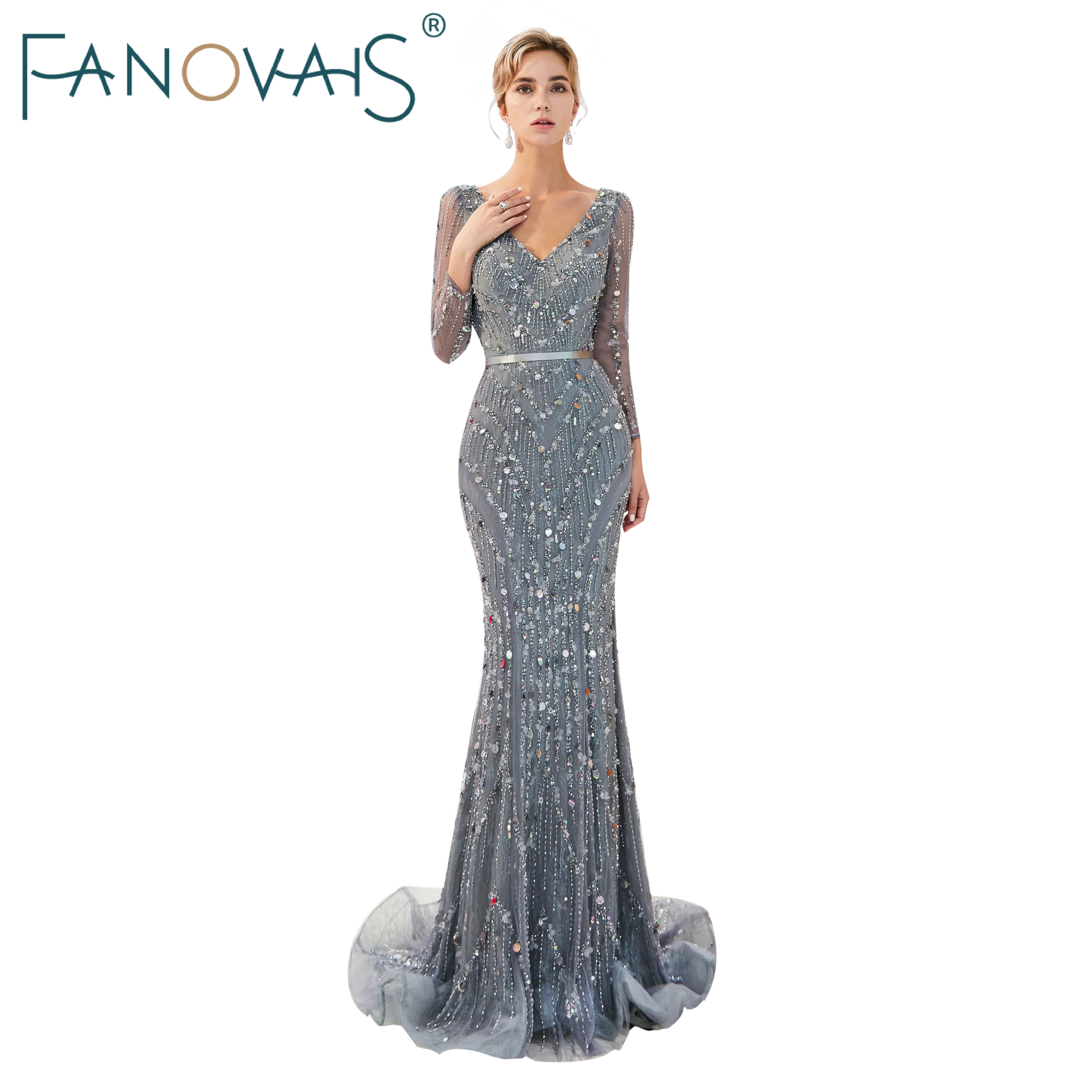 Luxury Evening Dress with Long Sleeves Silver Gray Evening Gowns ...