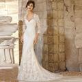 2016 гламурная замечательный тюль ткань милая длиной до пола , аппликации длинные люкс свадебные платья с три четверти рукава