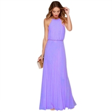 Women\s  A-Line Dresse Long Party Summer Dresses Chiffon Sequined Halter Elegant Purple Bridesmaid Sleeveless