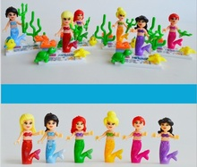 6pcs/Set Figures china brand LB mermaid children girl compatible with Lego