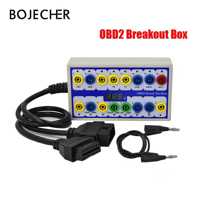 OBDII Breakout Box OBD OBD2 Break Out Box Car Protocol Detector Auto Car Test Box Automotive Connector Via Free Shipping