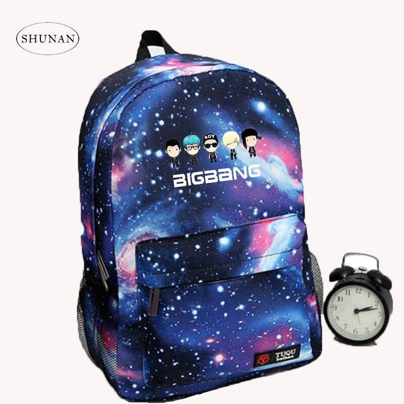 Korean New Galaxy Printing Backpack For Women BTS Backpack GOT7 Bigbang Waterproof Nylon Men's Backpack School Bag For Teenagers 2013 bigbang alive galaxy tour
