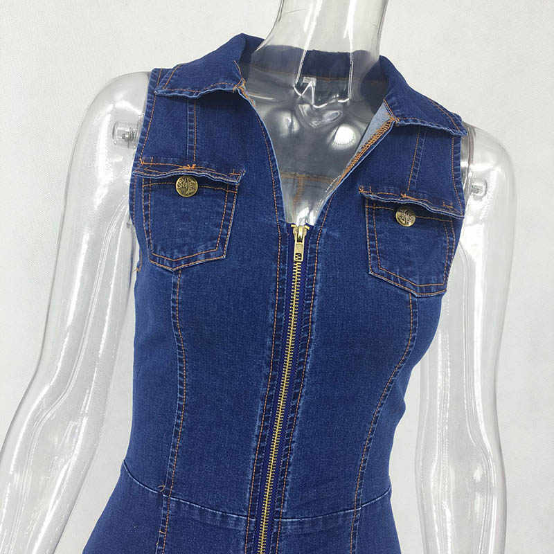 Новое Женское однотонное хлопковое джинсовое платье с v-образным вырезом и молниями без рукавов модное летнее Мини-Платье трапециевидной формы со средней талией
