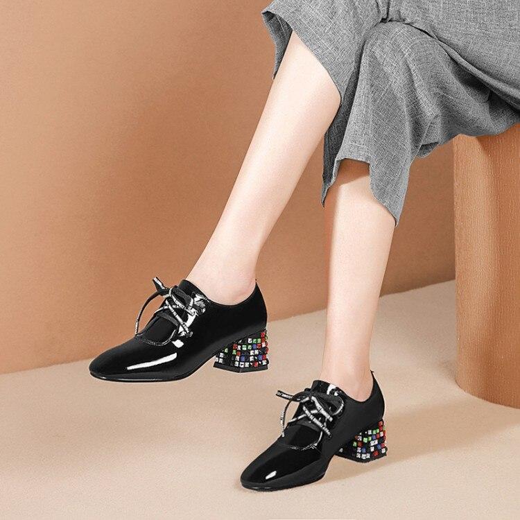 MLJUESE 2019 女性は秋春牛革正方形ヒール手紙クリスタルヒールハイヒールの女性の靴パーティードレスサイズ 34 42  グループ上の 靴 からの レディースパンプス の中 1