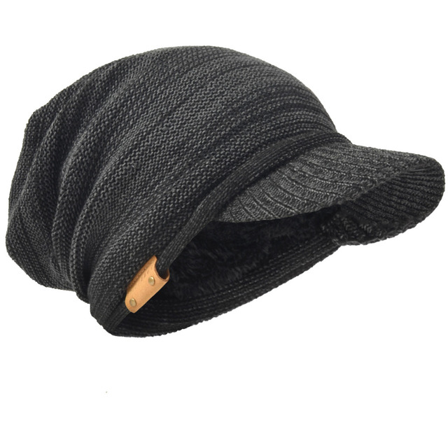 HISSHE Mens Womens Knit Newsboys Winter Hats Newsboy Cap Visor Beanie Skull  Caps Thicken Cabbie Warm Outdoors Hats 58b0298f606