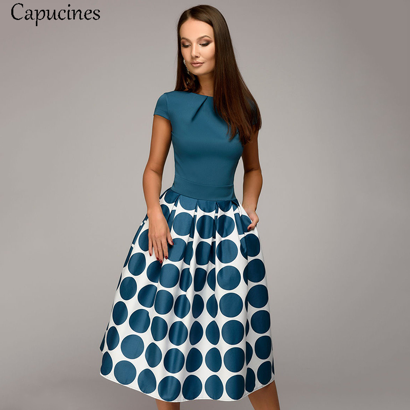 Hot Sale Vintage Dot Printing Patchwork A-line Dresses Women Summer Short Sleeves Round Neck Casual Dress Female Vestidos