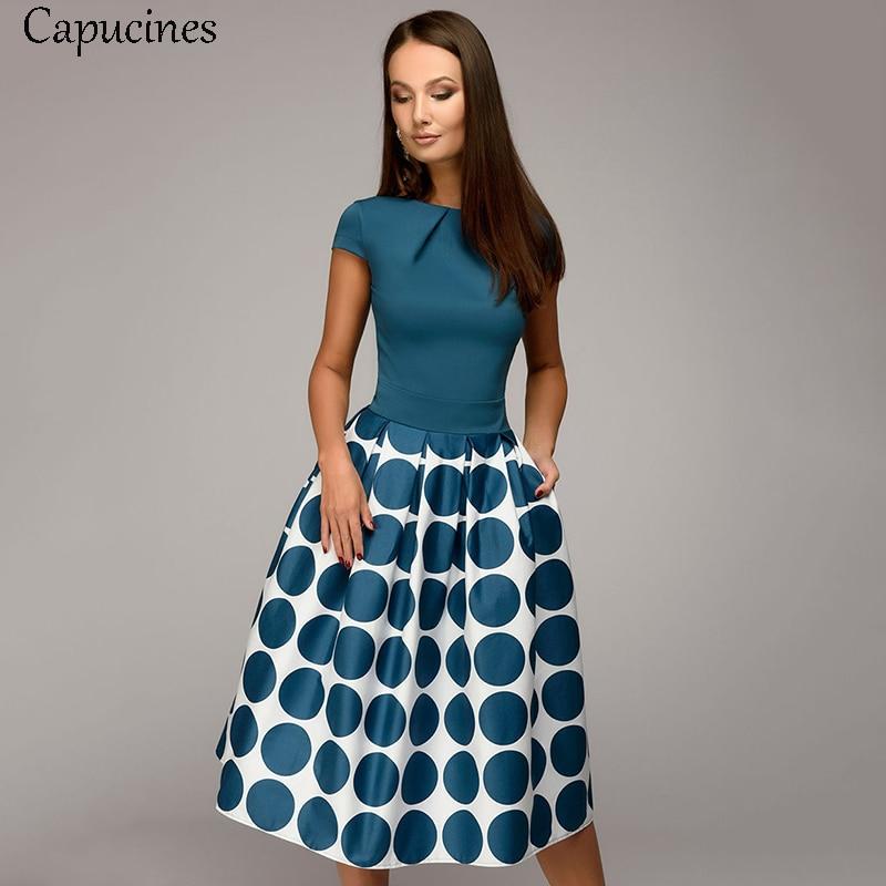 Venda quente do vintage dot impressão retalhos a-line vestidos femininos verão mangas curtas em torno do pescoço vestido casual feminino