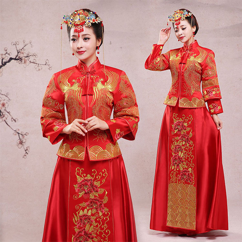 Mariée moderne Cheongsam chinois traditionnel Robe de mariage Qipao Su broderie Robe Chinoise Style Oriental Robe de soirée
