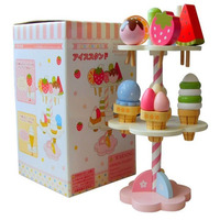 Baby Ice cream and Strawberry Wooden Toy Kids Wooden Kitchen Pretend Toy Real Life Cakes Fruits with Magnet Educational Toy Gift