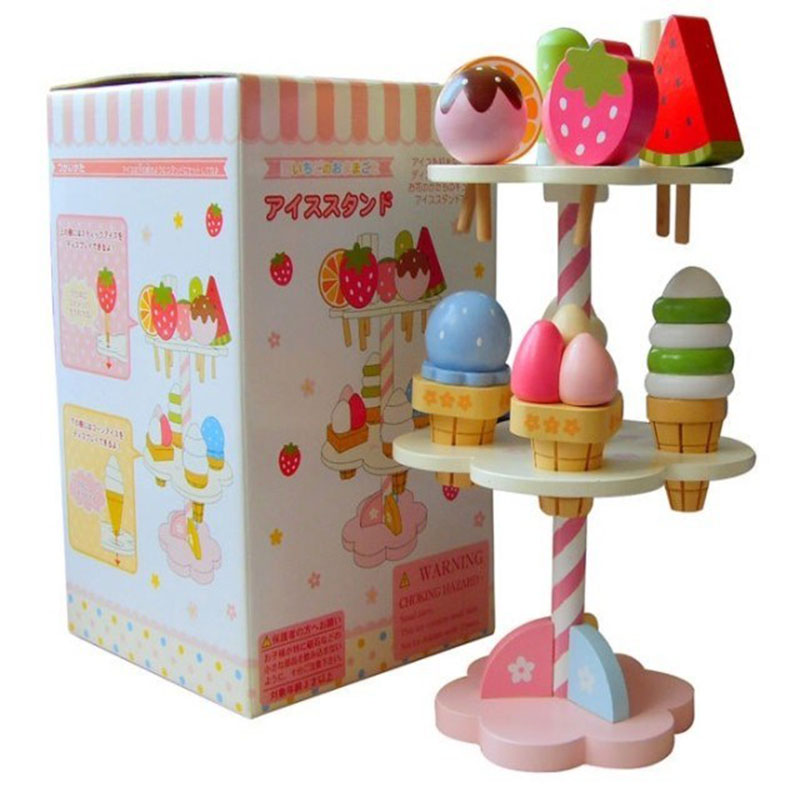 Baby Ijs En Aardbei Houten Speelgoed Kids Houten Keuken Pretend Speelgoed Echte Leven Broodjes Vruchten Met Magneet Educatief Speelgoed Gift