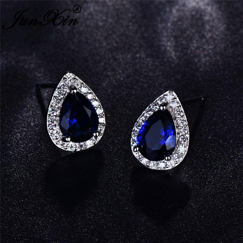 JUNXIN Female Male Royal Blue Stone Small Stud Earrings For Women Men White Gold Filled Water Drop Zircon Pear Earrings