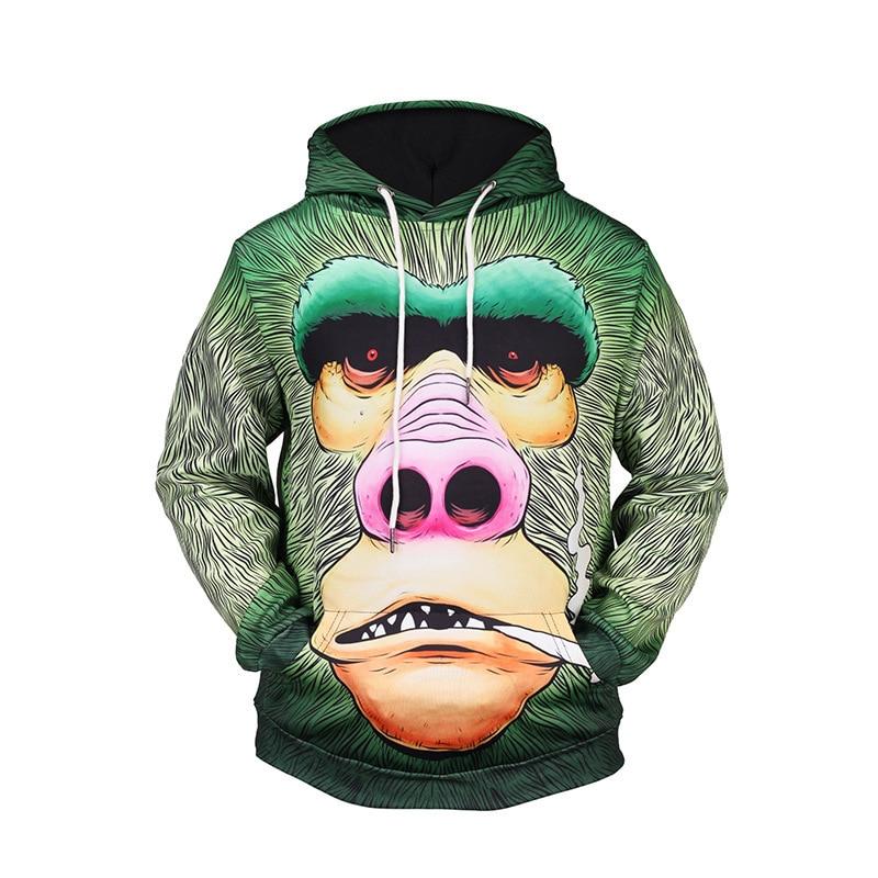 Fashion Guide 3d Sweatshirts Men/Women Thin Casual Hooded Hoodies Print Ape Man Face Striped Pullovers