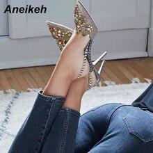 Aneikeh 2019 primavera Sexy bombas moda diamantes de imitación con cuentas Super alto tacón puntiagudo zapatos de mujer