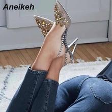Aneikeh 2020 wiosna Sexy pompy modne strasy zdobiony paciorkami diamentowymi bardzo wysokie na cienkim obcasie szpiczasty nosek pantofle damskie buty