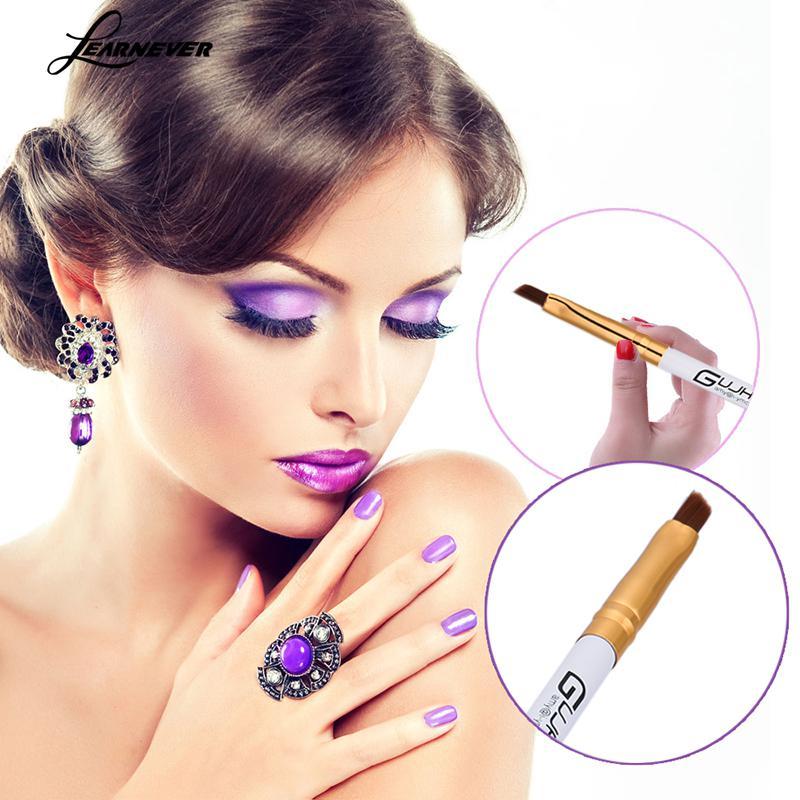 Single Eyelash Eyebrow Brush White Handle Golden Tube Eyelash Brush