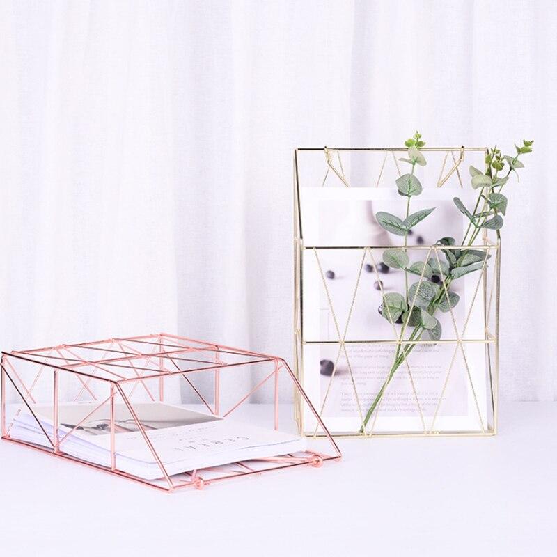 Металлическая корзина для хранения, модный настенный стеллаж для хранения в скандинавском стиле, железный стол, журнал, газета, органайзер, настенный держатель для украшения
