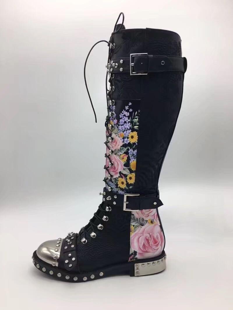 Mode Décoration Rivet Punk Boucle En Croix Dentelle Liée flower Femme Genou White Métal Bottes Femmes pink Clouté Chevalier 2019 Haute Nouvelle black 5nAqwg0pp