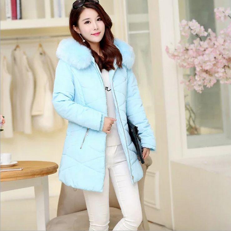 New Coats & Jackets 2017 Parka Hooded Winter Jacket Women Fur Collar Winter Coat Women Zipper Women's Jacket