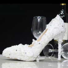 White Lace Flower Almond Shaped Toe Wedding Dress Shoes Bridesmaid Shoes Bridal Shoes Banquet Evening Party Prom Princess Shoes