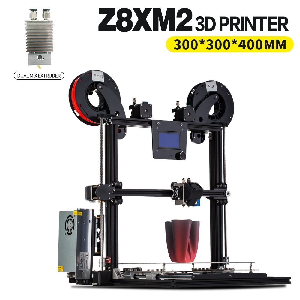 ZONESTAR 2017 Newest Aluminum Metal Large Big Size Fast Assembly Auto Level Laser Engraving Filament Run out Detect 3d printer zonestar large dule extruder mix color size 300x300x400 3d printer auto level laser engraving full metal aluminum frame diy kit