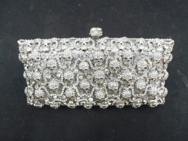 ФОТО Crystal skull Lady Fashion Party silver hollow Metal Evening purse handbag clutch bag case