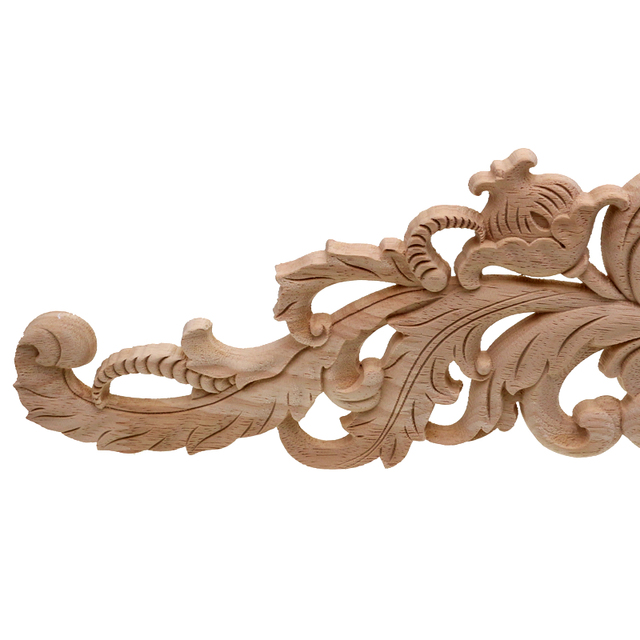 RUNBAZEF European Style Real Wood Long Floral Carving Applique Home Decoration Accessories Door Cabinet Furniture Figurines 3