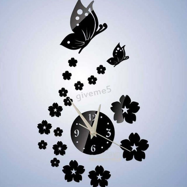 Mirror Butterfly Wall Art Clock Kids Decal Novelty Households Wall Watch  Modern Design Home Decoration DIY