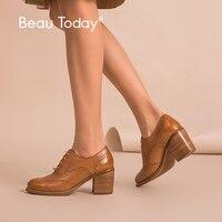 Mejor Zapatos de tacón de cuero de vaca genuino para mujer de BeauToday, zapatos de tacón alto hechos a mano 16201