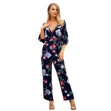48f7f17cf2f0 Cotton print women jumpsuit V-neck straight streetwear romper women top  2019 spring and summer