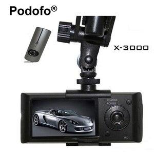 Image 1 - Podofoデュアルレンズ車dvr x3000 r300ダッシュカメラでgps gセンサービデオカメラ140度広角2.7インチカムビデオレコーダー